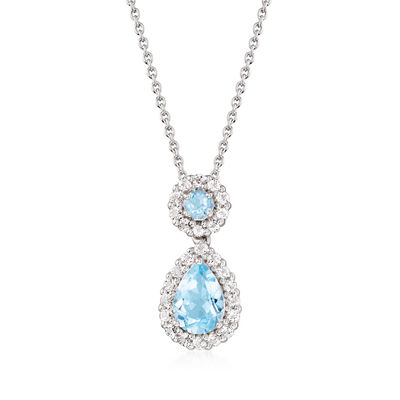 3.30 ct. t.w. Blue and White Topaz Pendant Necklace in Sterling Silver, , default