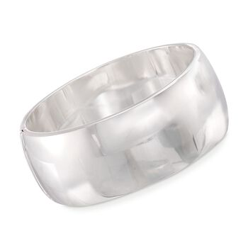30mm Sterling Silver Wide Bangle Bracelet, , default