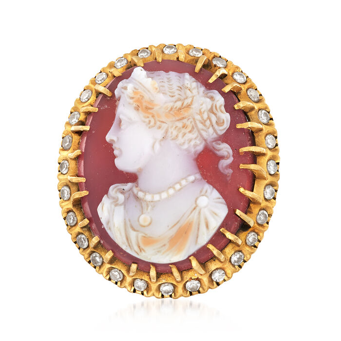 C. 1950 Vintage Agate Cameo Ring with .45 ct. t.w. Diamonds in 18kt Yellow Gold. Size 6