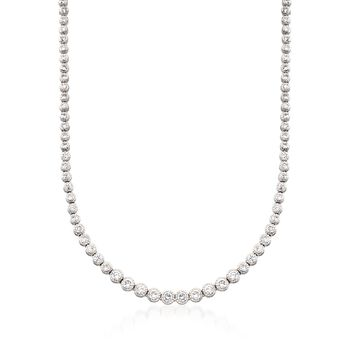 """13.50 ct. t.w. Graduated CZ Tennis Necklace in Sterling Silver. 18"""", , default"""