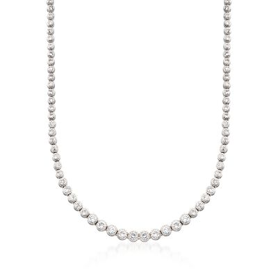 13.50 ct. t.w. Graduated CZ Tennis Necklace in Sterling Silver, , default