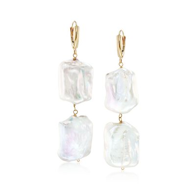 17-20mm Cultured Baroque Pearl Drop Earrings in 14kt Gold, , default