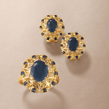 3.70 ct. t.w. Sapphire Scrolled Earrings in 14kt Yellow Gold