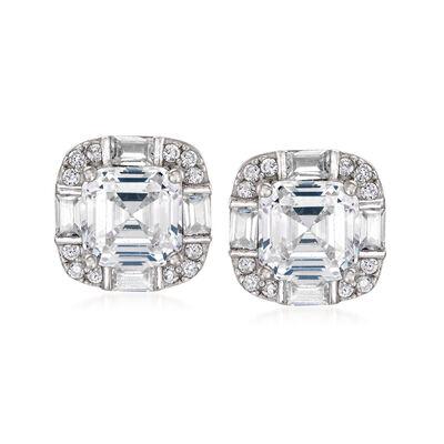 4.60 ct. t.w. Multi-Shape CZ Earrings in Sterling Silver