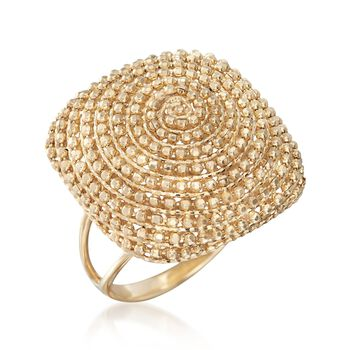 14kt Yellow Gold Beaded Square-Top Ring, , default