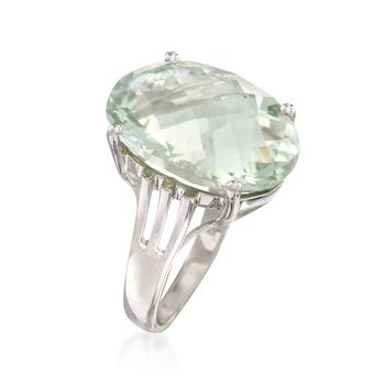 14.00 Carat Green Prasiolite Ring in Sterling Silver