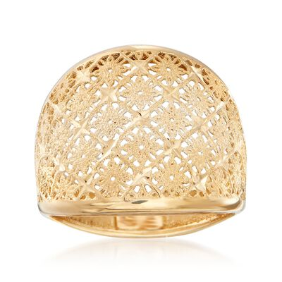 Italian 18kt Yellow Gold Openwork Floral Ring, , default