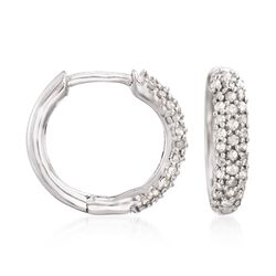 ".34 ct. t.w. Pave Diamond Huggie Hoop Earrings in Sterling Silver. 1/2"", , default"