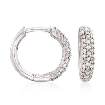 """.34 ct. t.w. Pave Diamond Huggie Hoop Earrings in Sterling Silver. 1/2"""", , default"""