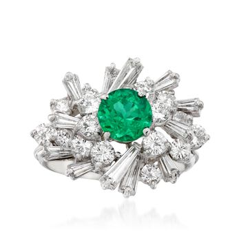 C. 1970 Vintage 1.25 Carat Emerald and 3.60 ct. t.w. Diamond Cluster Ring in Platinum. Size 9, , default