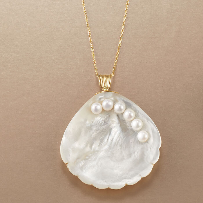 Mother-Of-Pearl Seashell Pendant Necklace with 4-4.5mm Cultured Pearls in 14kt Yellow Gold