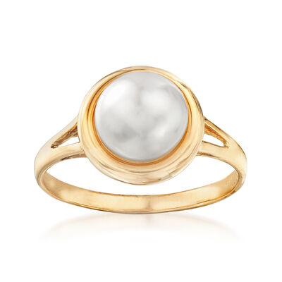 8-8.25mm Cultured Pearl Ring in 14kt Yellow Gold, , default