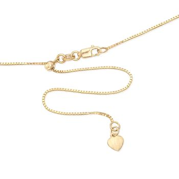 ".8mm 14kt Yellow Gold Adjustable Box Chain Necklace. 22"", , default"