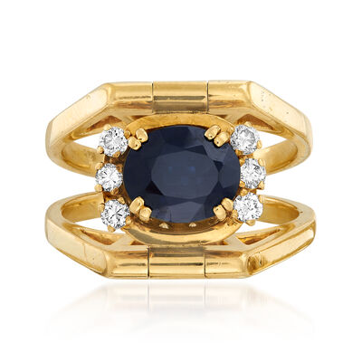 C. 1970 Vintage 1.85 Carat Sapphire and .85 ct. t.w. Diamond Reversible Ring in 18kt Yellow Gold, , default