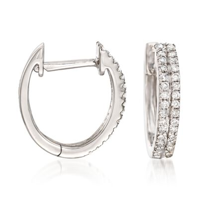 .25 ct. t.w. Diamond Two-Row Hoop Earrings in 14kt White Gold