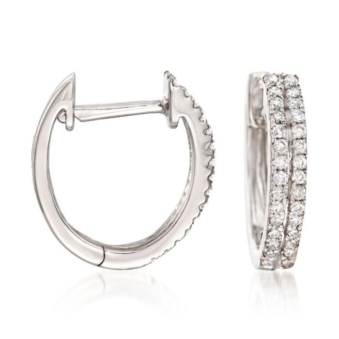 .25 ct. t.w. Diamond Two-Row Hoop Earrings in 14kt White Gold