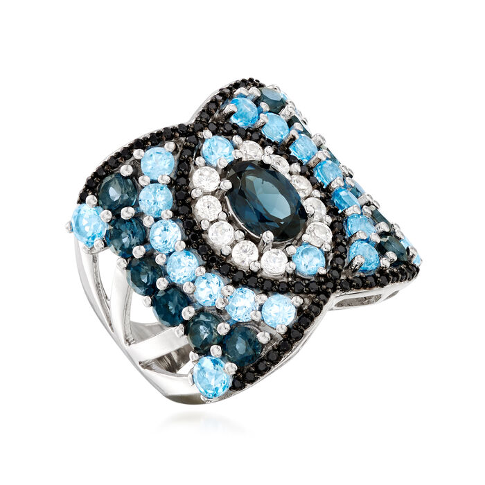 3.50 ct. t.w. Blue Topaz and .40 ct. t.w. White Zircon Ring with Black Spinel in Sterling Silver