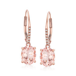 3.20 ct. t.w. Morganite Drop Earrings With Diamond Accents in 14kt Rose Gold, , default