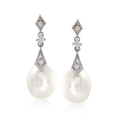8mm Cultured Pearl and .10 ct. t.w. Diamond Drop Earrings in 14kt White Gold, , default