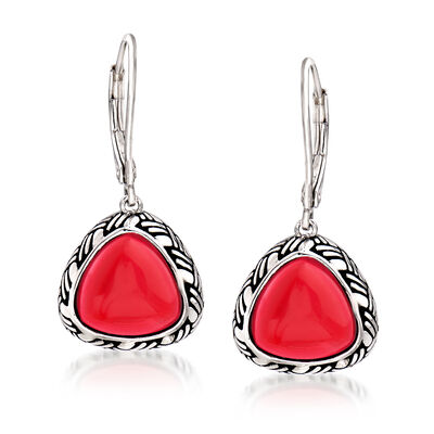 Red Coral Drop Earrings in Sterling Silver, , default