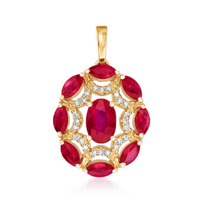 1.20 ct. t.w. Ruby Pendant with Diamond Accents in 14kt Yellow Gold, , default