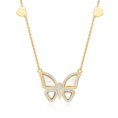 Mother-Of-Pearl and .70 ct. t.w. White Topaz Butterfly Necklace in 18kt Gold Over Sterling