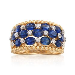2.70 ct. t.w. Sapphire and .20 ct. t.w. Diamond Ring in 14kt Yellow Gold, , default