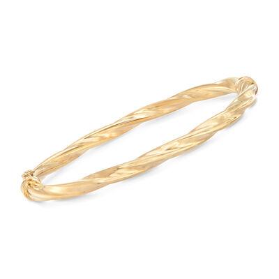 Italian 14kt Yellow Gold Twisted Bangle Bracelet, , default