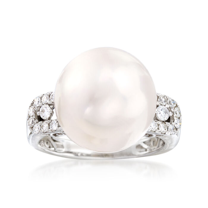 13.5-14mm Cultured Pearl and .28 ct. t.w. Diamond Ring in 14kt White Gold, , default