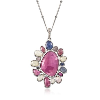 31.85 ct. t.w. Multicolored Sapphire Floral Pendant Necklace in Sterling Silver, , default
