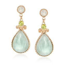 Green Jade and .47 ct. t.w. Peridot Drop Earrings in 18kt Gold Over Sterling, , default