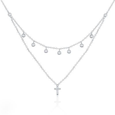 .30 ct. t.w. CZ Layered Cross and Bezel Drop Necklace in Sterling Silver, , default