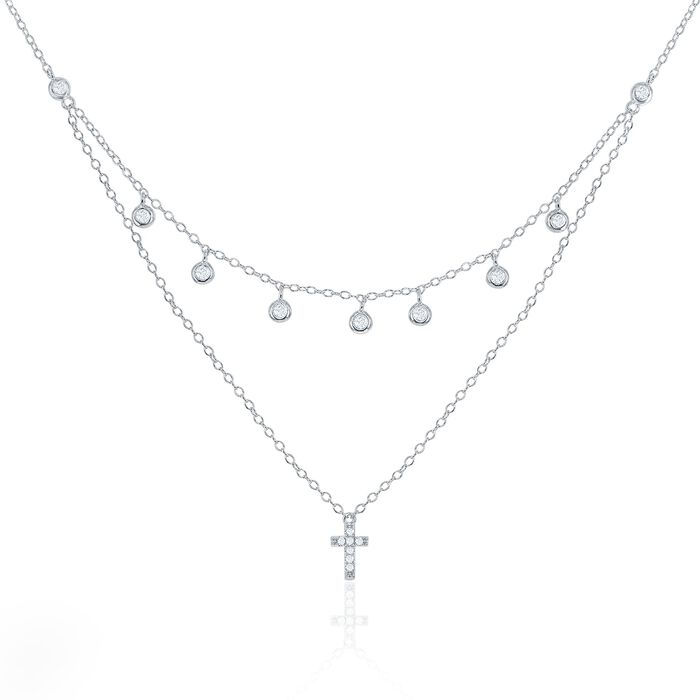 """.30 ct. t.w. CZ Layered Cross and Bezel Drop Necklace in Sterling Silver. 16"""", , default"""