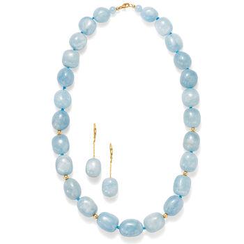 30.00 ct. t.w. Aquamarine Drop Earrings in 14kt Yellow Gold, , default