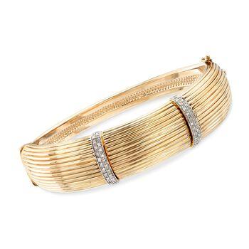 ".22 ct. t.w. Diamond Bar Bangle Bracelet in 14kt Yellow Gold. 7"", , default"