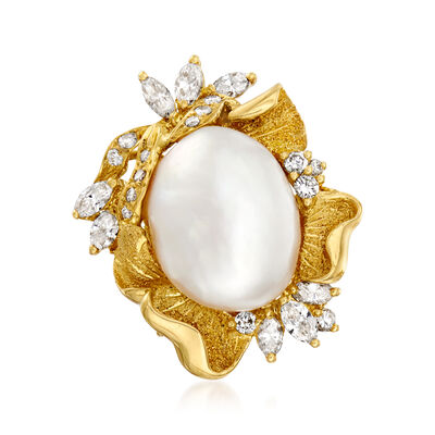 C. 1980 Vintage Cultured Baroque Pearl and .91 ct. t.w. Diamond Cocktail Ring in 18kt Yellow Gold