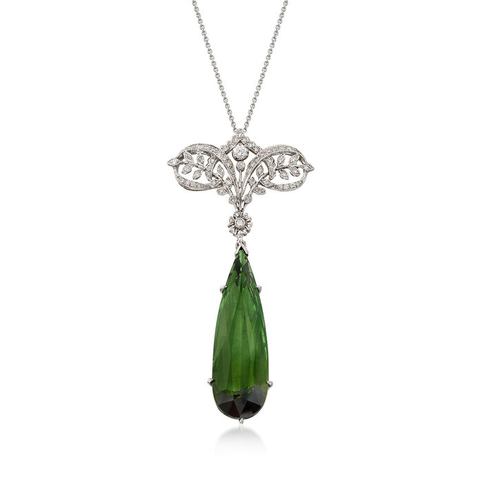 C. 2000 Vintage 15.33 Carat Green Tourmaline and .35 ct. t.w. Diamond Drop Necklace in 18kt White Gold