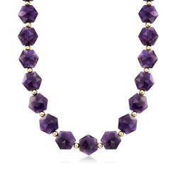 Amethyst Bead Necklace in 14kt Yellow Gold, , default