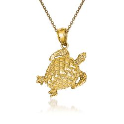 "14kt Yellow Gold Turtle Pendant Necklace. 18"", , default"