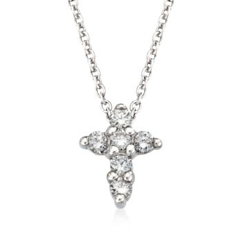 """Roberto Coin .11 ct. t.w. Diamond Cross Necklace in 18kt White Gold. 16"""", , default"""