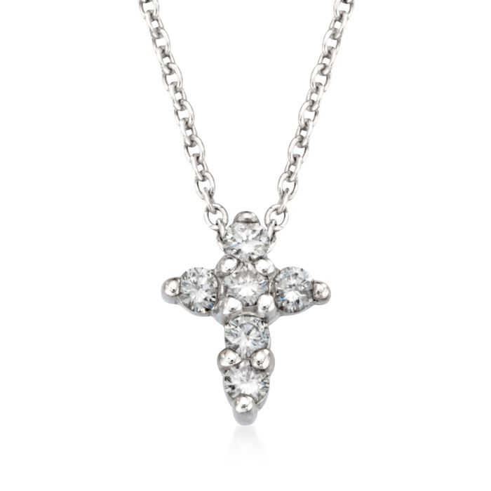 "Roberto Coin .11 ct. t.w. Diamond Cross Necklace in 18kt White Gold. 16"", , default"