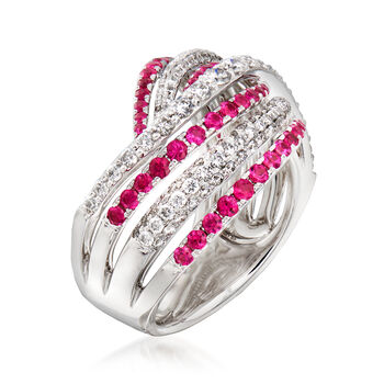 C. 1990 Vintage Piero Milano .87 ct. t.w. Diamond and .85 ct. t.w. Ruby Wave Ring in 18kt White Gold. Size 6.5, , default