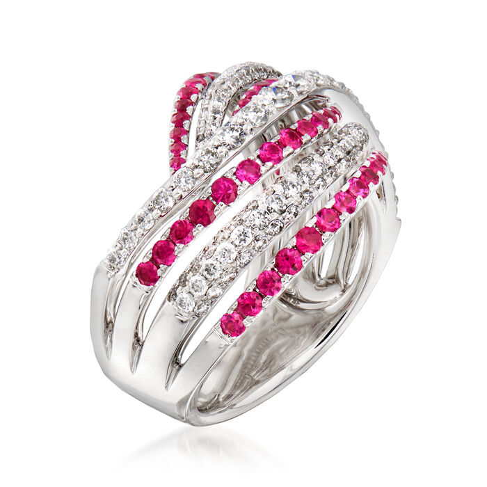 C. 1990 Vintage Piero Milano .87 ct. t.w. Diamond and .85 ct. t.w. Ruby Wave Ring in 18kt White Gold