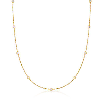 C. 1990 Vintage 1.50 ct. t.w. Diamond Station Necklace in 18kt Yellow Gold