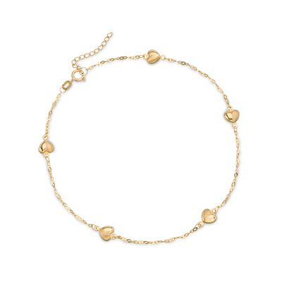 14kt Yellow Gold Heart Station Anklet, , default