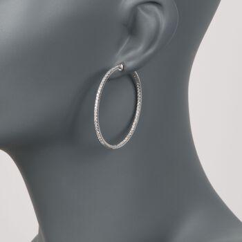 """2.40 ct. t.w. Diamond Inside-Outside Hoop Earrings in 18kt White Gold. 1 3/4"""", , default"""