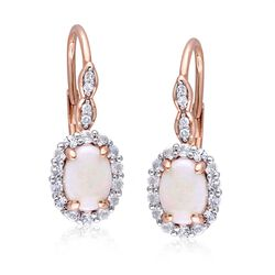 Opal and .80 ct. t.w. White Topaz Drop Earrings With Diamond Accents in 14kt Rose Gold, , default