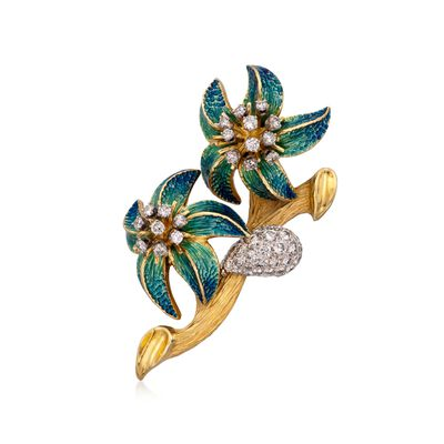 C. 1970 Vintage 3.00 ct. t.w. Diamond Flower Pin With Enamel in 18kt Yellow Gold, , default