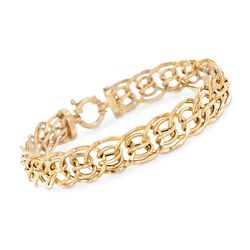 "Italian 18kt Yellow Gold Small Multi-Circle Link Bracelet. 7.5"", , default"