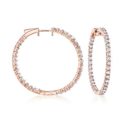 3.00 ct. t.w. Diamond Inside-Outside Hoop Earrings in 18kt Rose Gold Over Sterling, , default